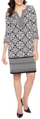 Liz Claiborne 3/4 Sleeve Print Sheath Dress