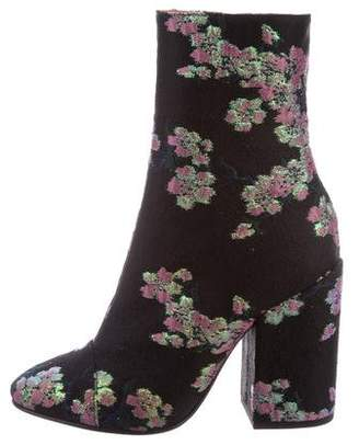 Dries Van Noten Floral Brocade Ankle Boots