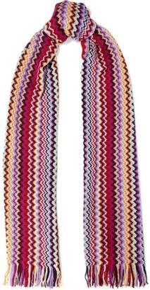 Missoni Fringe-Trimmed Metallic Crochet-Knit Scarf