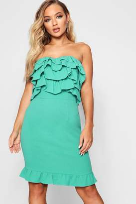 boohoo Ruffle Bandeau Mini Dress