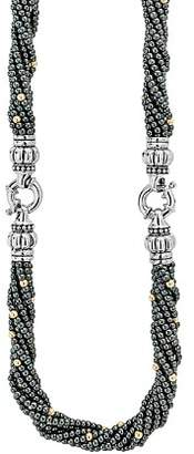 Lagos 18K Gold and Sterling Silver Caviar Icon Hematite Beaded Multi Strand Convertible Bracelet and Necklace