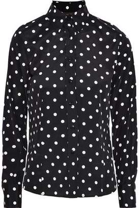Carolina Herrera Polka-Dot Stretch-Silk Crepe De Chine Shirt