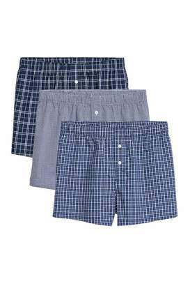 H&M 3-pack Woven Boxer Shorts - Bright blue/checked - Men