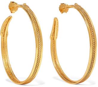 Mallarino Jazmin Gold-tone Emerald Hoop Earrings