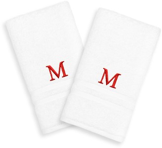 Linum Home Textiles 2-pack Red Monogram Hand Towel
