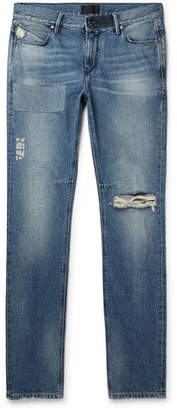 RtA Skinny-Fit Distressed Printed Denim Jeans - Blue