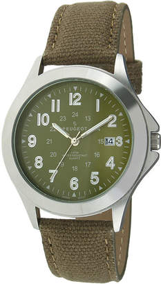 Peugeot Mens Green Canvas Strap Military Watch