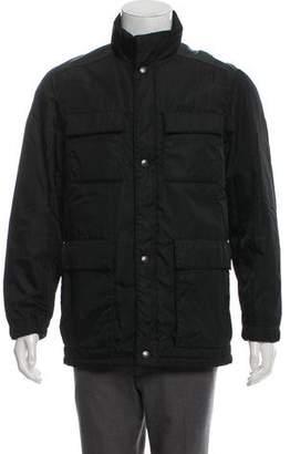 Prada Leather-Trimmed Military Jacket