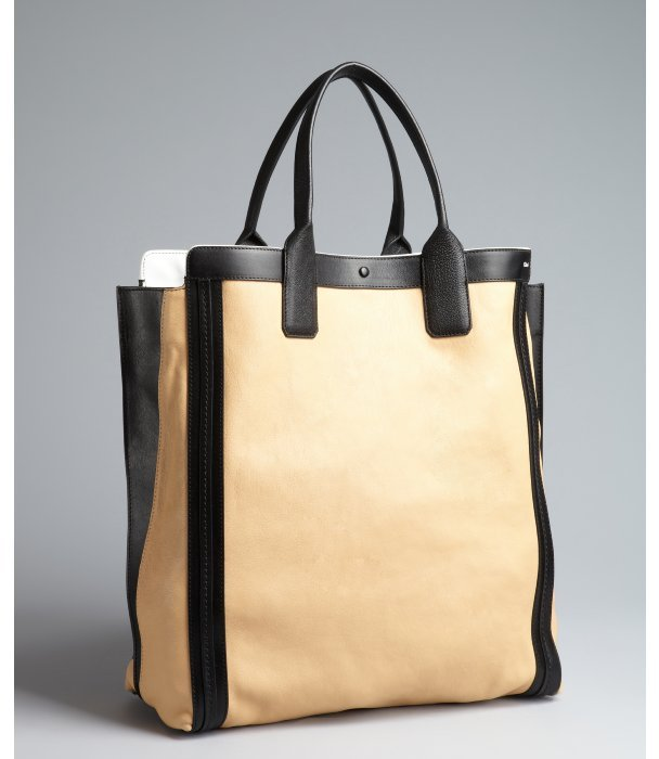 Chloé ginger and black leather shopper tote