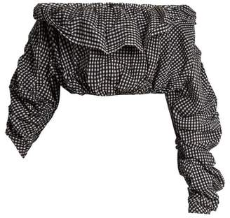 Ellery - Third Degree Checked Stretch Cotton Cropped Top - Womens - Black White
