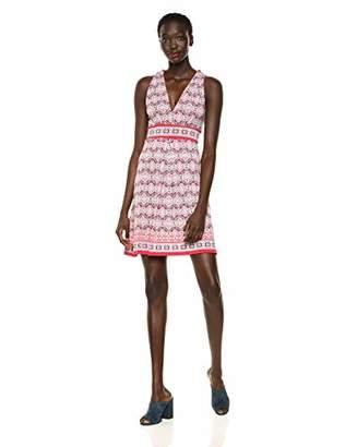 Max Studio Women's Pleated Front Printed Matte Jersey Halter Dress