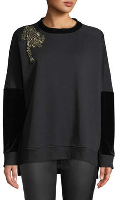 Elie Tahari Chantae Knit Sweater w/ Tiger Detail