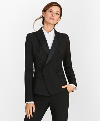 Brooks Brothers Petite Stretch-Wool Crepe Double-Breasted Tuxedo Jacket