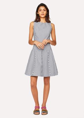 Paul Smith Women's Grey And White Stripe Cotton Dress