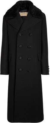 Burberry Detachable Shearling Collar Cashmere Chesterfield