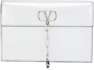 Valentino V Chain Small Metallic Clutch Bag