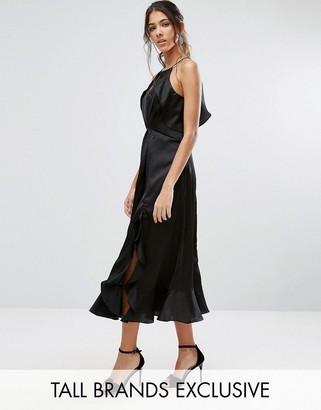 Jarlo Tall High Neck Ruffle Detail Cami Midi Dress $128 thestylecure.com