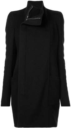Rick Owens double breasted band collar coat