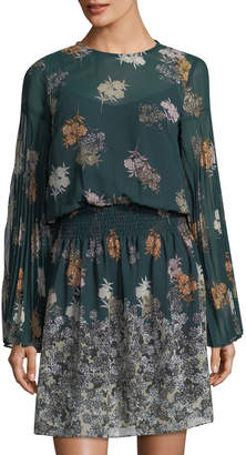 Donna Morgan Floral Smocked-Waist Chiffon Dress
