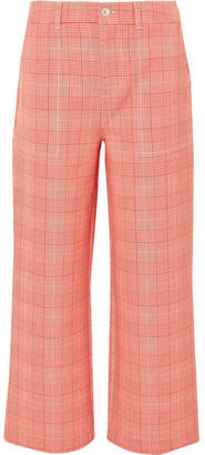Ganni Garvey Checked Cady Wide-leg Pants - Red