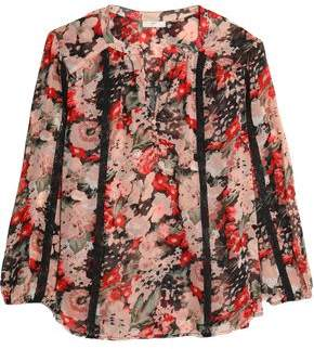 Joie Woman Ruffled Floral-print Silk-crepon Top Black Size M Joie Discounts For Sale Clearance Cheap Price Discount Visit New Free Shipping Shop Outlet For Nice C9gApSjvi