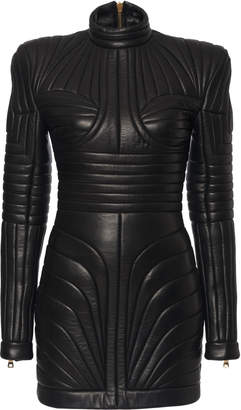Balmain Strong Shoulder Quilted Leather Dress