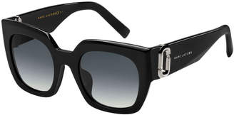 Marc Jacobs Square Gradient Sunglasses w/ Logo Link Temples