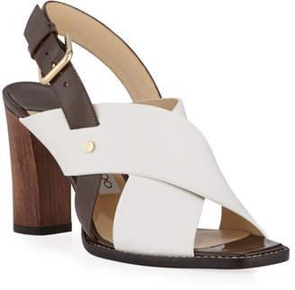 7170b02f5 Jimmy Choo Aix Wooden-Heel Vachetta/Patent Slingback Sandals