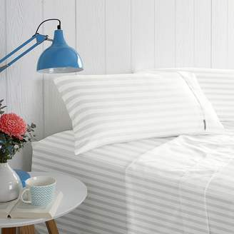 Odyssey Living 1000TC Cotton Rich Solid Sateen Stripe Sheet Set, White Queen