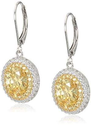 Plated Sterling Silver and White Cubic Zirconia Halo Leverback Dangle Earrings