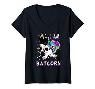 Womens I Am Batcorn Bat Unicorn Superhero Costume Gift V-Neck T-Shirt
