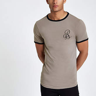 River Island Mens Beige embroidered muscle fit T-shirt