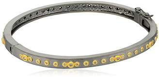 Freida Rothman Womens Signature Mini Stud Eternity Hinge Bangle Bracelet