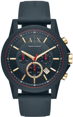 Armani Exchange Men's Chronograph Blue Silicone Strap Watch 47mm