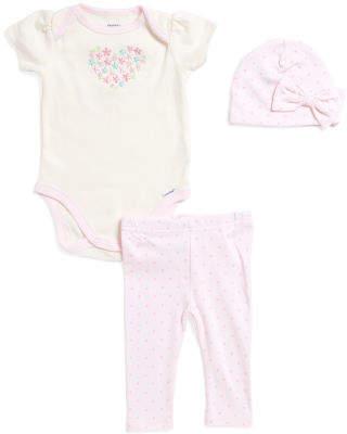 Newborn Girls 3pc Floral Heart Bodysuit Pant & Cap Set