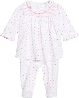 Kissy Kissy Polka Dot Hearts Dress & Footed Leggings Set