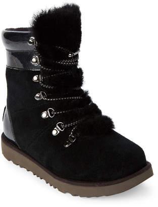 UGG Kids Girls) Black Viki Lace-Up Real Fur Boots