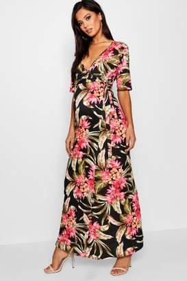 boohoo Maternity Nursing Wrap Maxi Dress