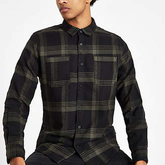 River Island Only and Sons green check long sleeve shirt