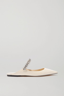Jimmy Choo Bing Crystal-embellished Patent-leather Slippers - Ivory