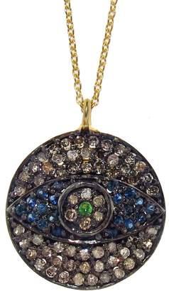 Ileana Makri EYE M by Twilight Evil Eye Pendant Necklace with Blue Sapphire & Grey Diamonds