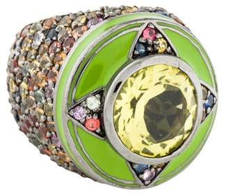 MCL by Matthew Campbell Laurenza Yellow Quartz & Sapphire Ring