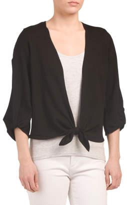 Split Sleeve Tie Front Cardigan