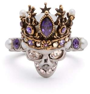 Alexander McQueen Queen Crystal And Pearl Embellished Skull Ring - Womens - Gold