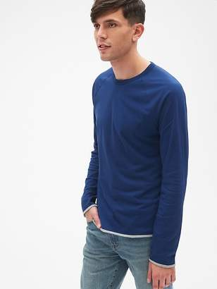 Gap Long Sleeve Double-Face Crewneck T-Shirt