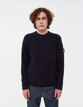 Stone Island Terry Effect Cotton-Nylon Sweater in Navy Blue