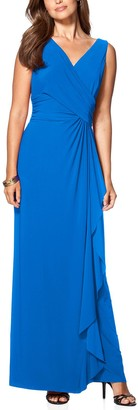 Chaps Women's Surplice Gathered-Side Evening Dress