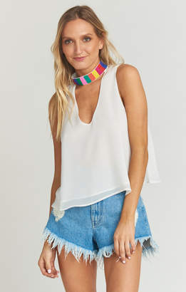 Show Me Your Mumu Brielle Top ~ White Chiffon with Beading