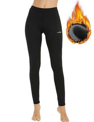 a33fd326d9ed6 COOLOMG Women's Thermal Leggings Fleece-Lined Warm Tights Workout Base  Layer Pants S