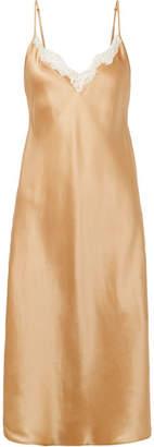 Mes Demoiselles Sequoia Lace-trimmed Silk-satin Slip Dress - Sand